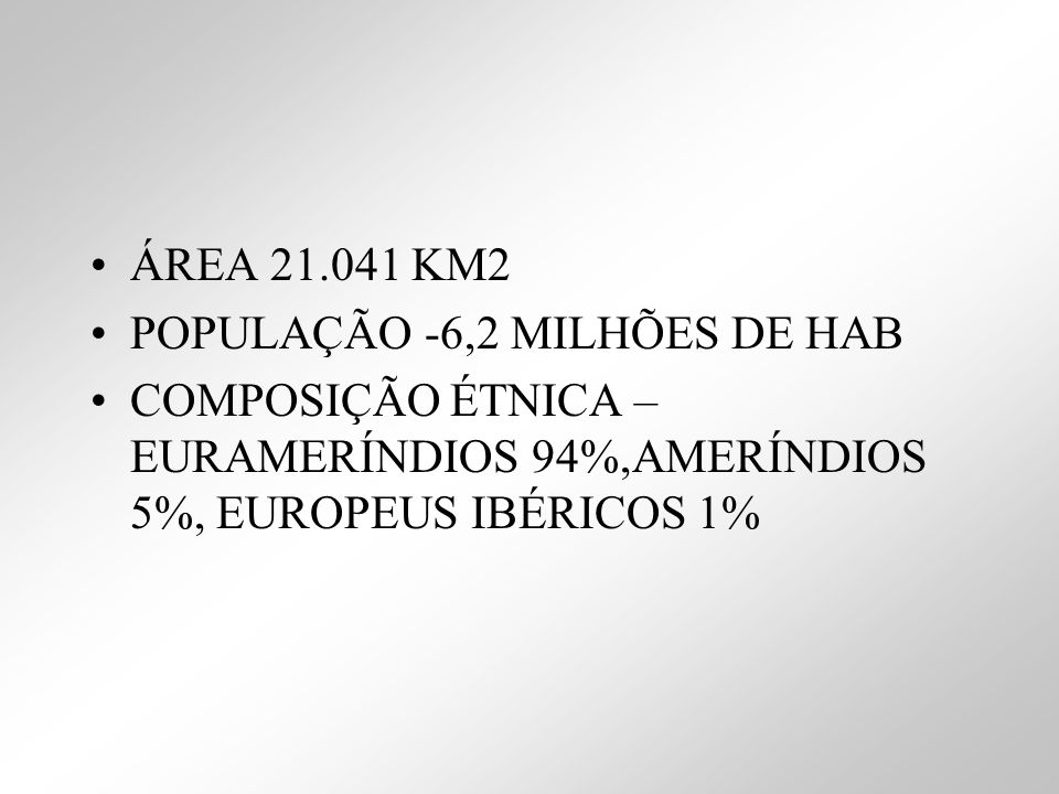 ÁREA 21.041 KM2POPULAÇÃO -6,2 MILHÕES DE HAB.