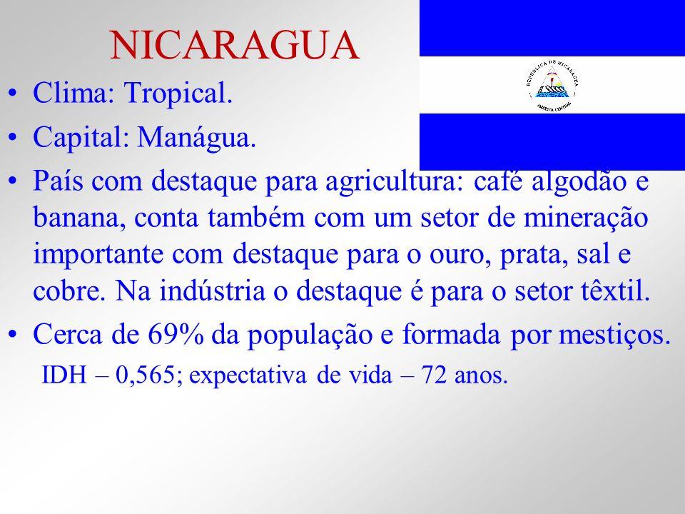 NICARAGUA Clima: Tropical. Capital: Manágua.