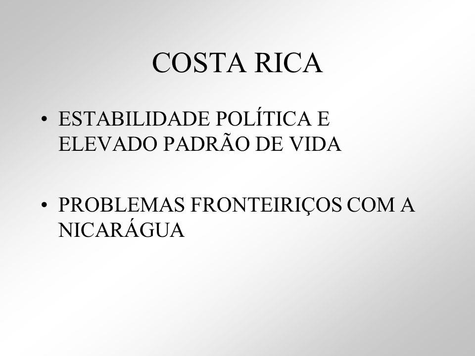 COSTA RICA ESTABILIDADE POLÍTICA E ELEVADO PADRÃO DE VIDA