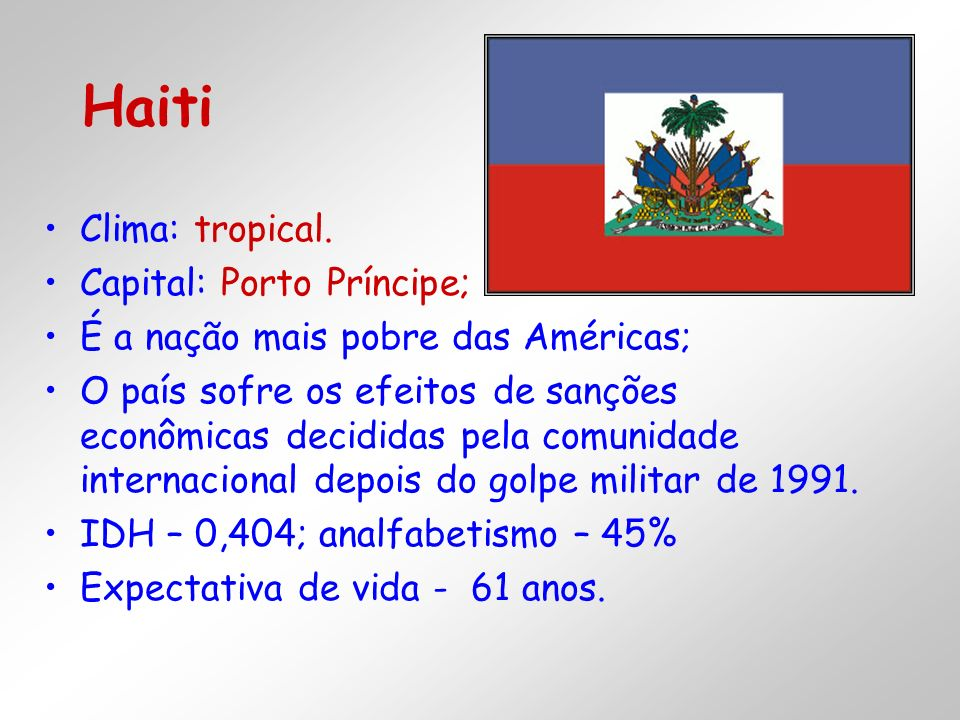 Haiti Clima: tropical. Capital: Porto Príncipe;