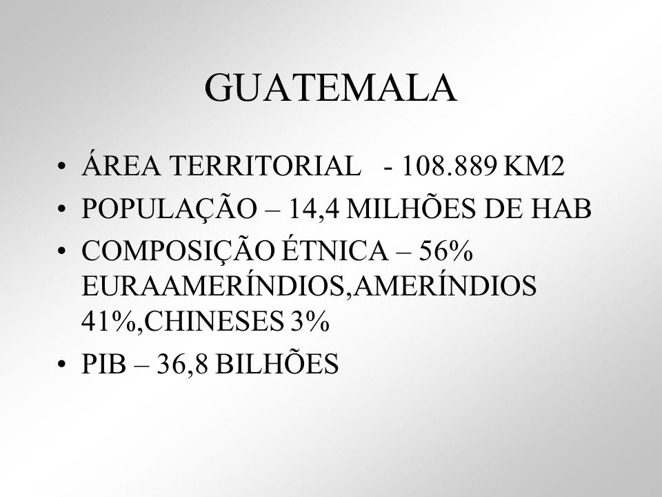 GUATEMALA ÁREA TERRITORIAL - 108.889 KM2