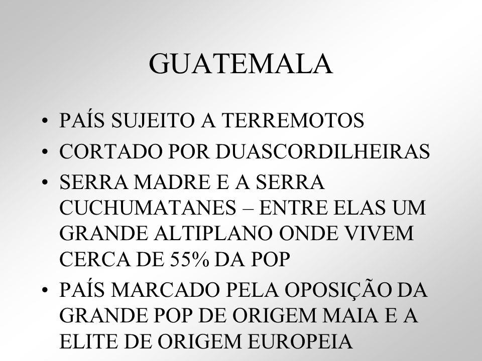 GUATEMALA PAÍS SUJEITO A TERREMOTOS CORTADO POR DUASCORDILHEIRAS