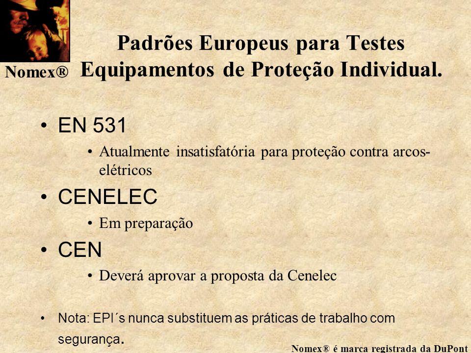 Padrões Europeus para Testes Equipamentos de Proteção Individual.
