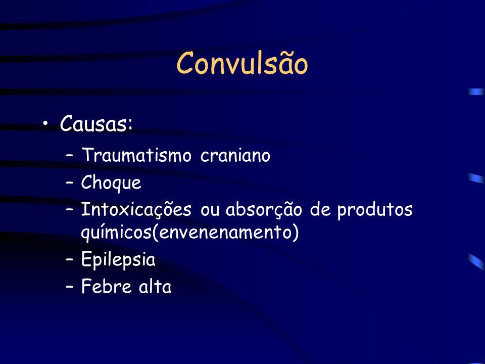 Convulsão Causas: Traumatismo craniano Choque