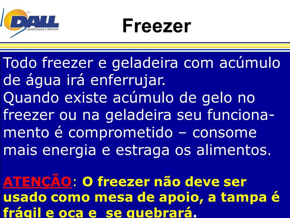 Freezer Todo freezer e geladeira com acúmulo de água irá enferrujar.