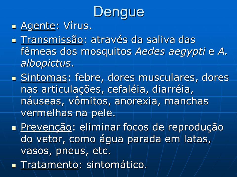 Dengue Agente: Vírus. Transmissão: através da saliva das fêmeas dos mosquitos Aedes aegypti e A. albopictus.