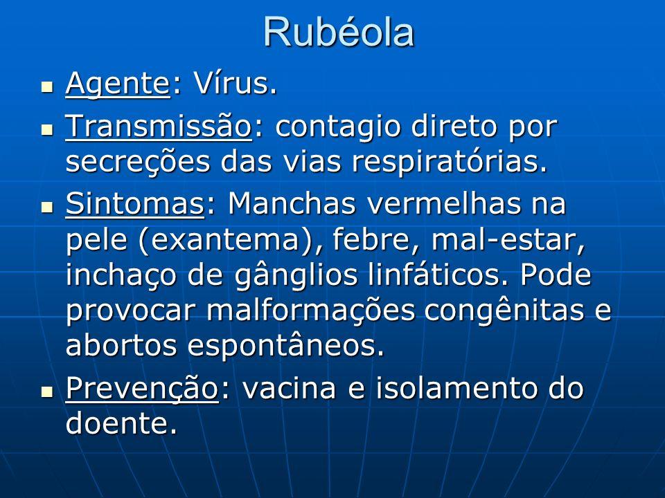 Rubéola Agente: Vírus. Transmissão: contagio direto por secreções das vias respiratórias.