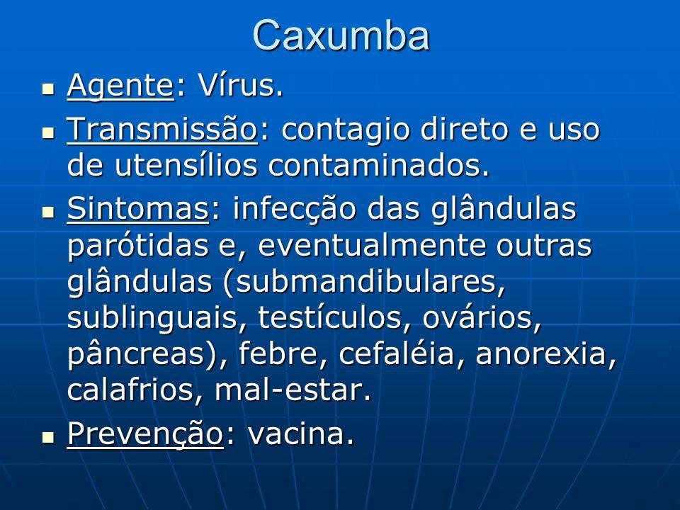 Caxumba Agente: Vírus. Transmissão: contagio direto e uso de utensílios contaminados.