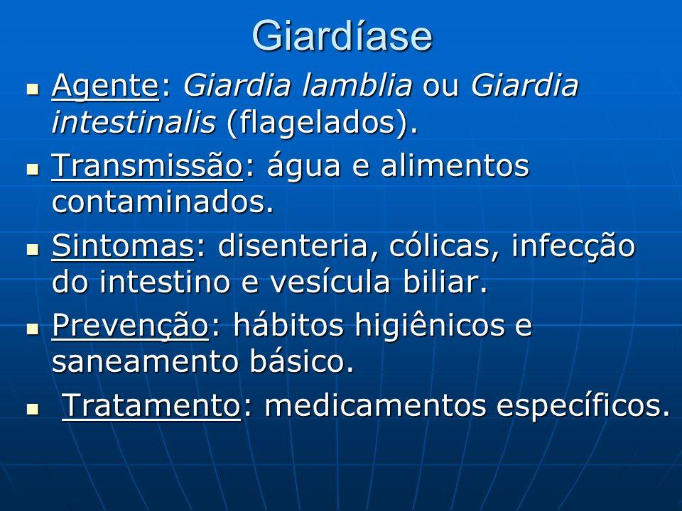 GiardíaseAgente: Giardia lamblia ou Giardia intestinalis (flagelados). Transmissão: água e alimentos contaminados.