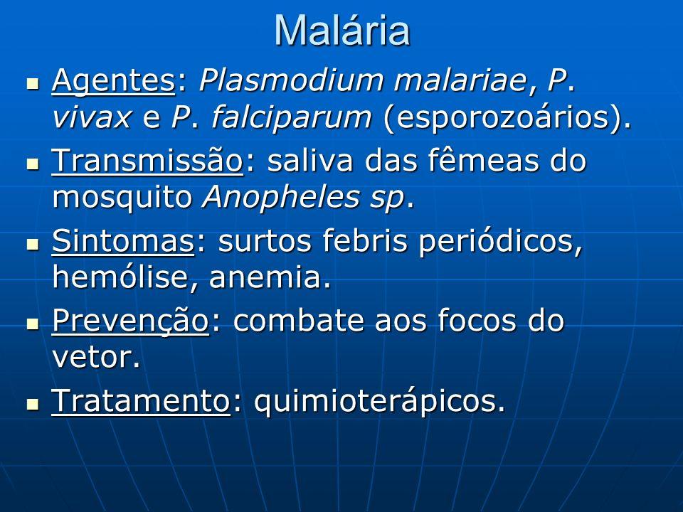 MaláriaAgentes: Plasmodium malariae, P. vivax e P. falciparum (esporozoários). Transmissão: saliva das fêmeas do mosquito Anopheles sp.