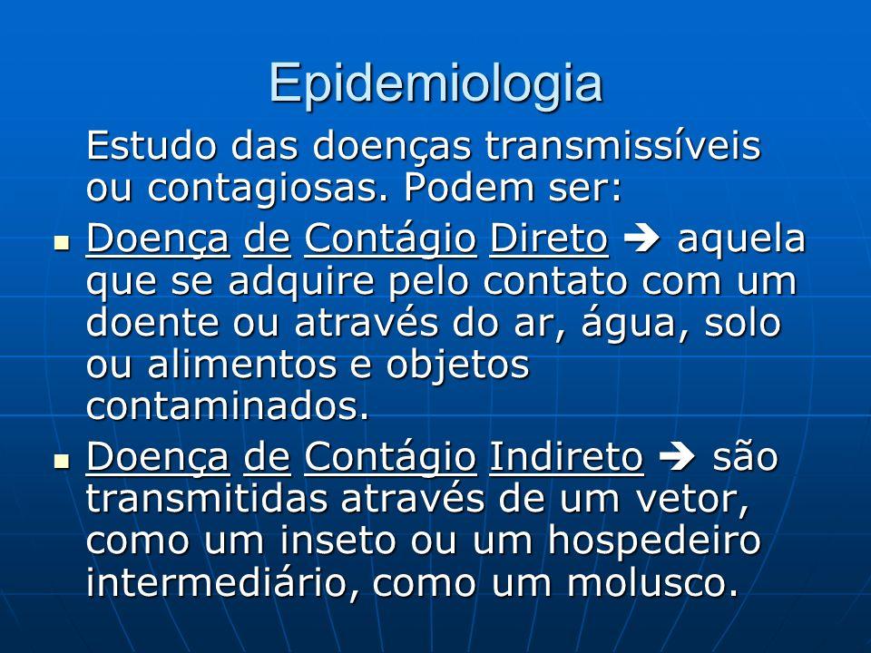 Epidemiologia Estudo das doenças transmissíveis ou contagiosas. Podem ser: