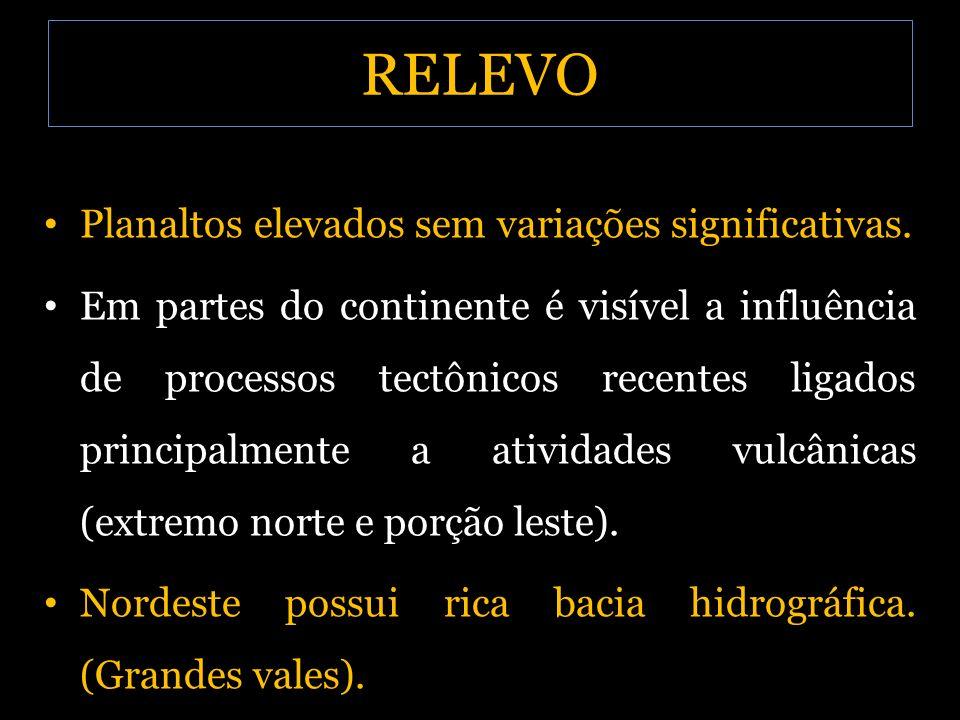 RELEVO Planaltos elevados sem variações significativas.