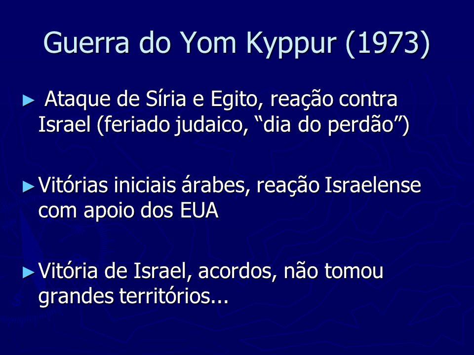 Guerra do Yom Kyppur (1973) Ataque de Síria e Egito, reação contra Israel (feriado judaico, dia do perdão )
