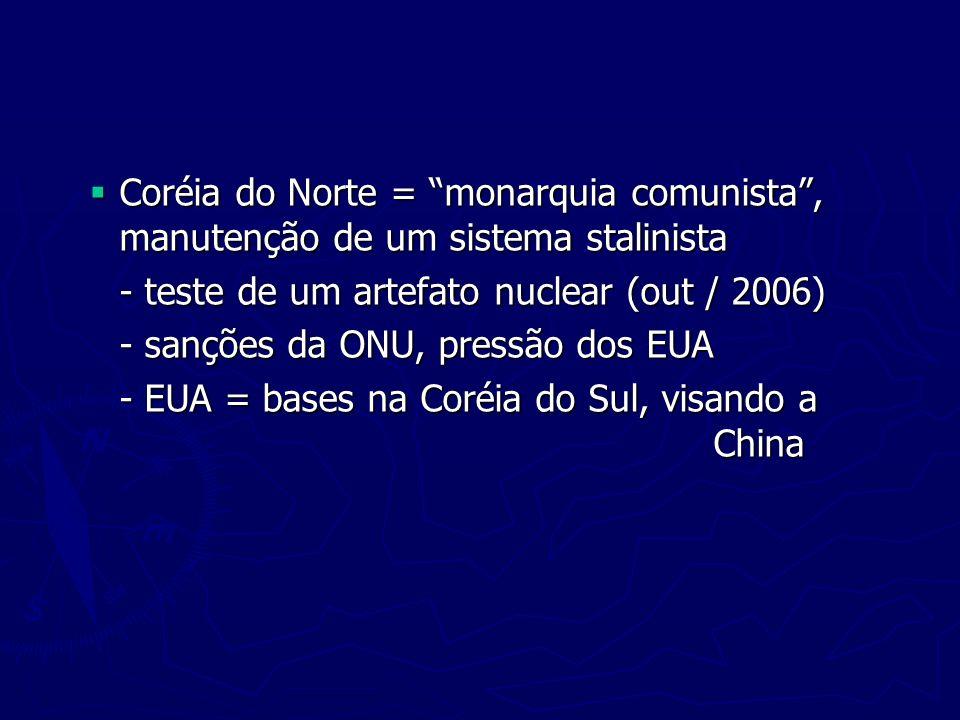 Coréia do Norte = monarquia comunista , manutenção de um sistema stalinista