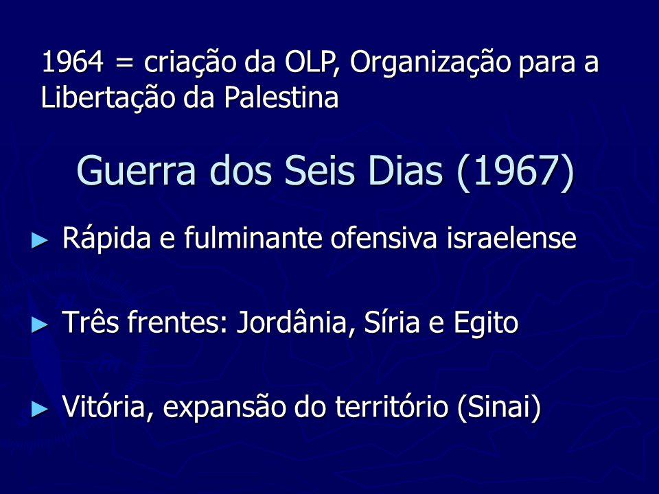 1964 = criação da OLP, Organização para a Libertação da Palestina