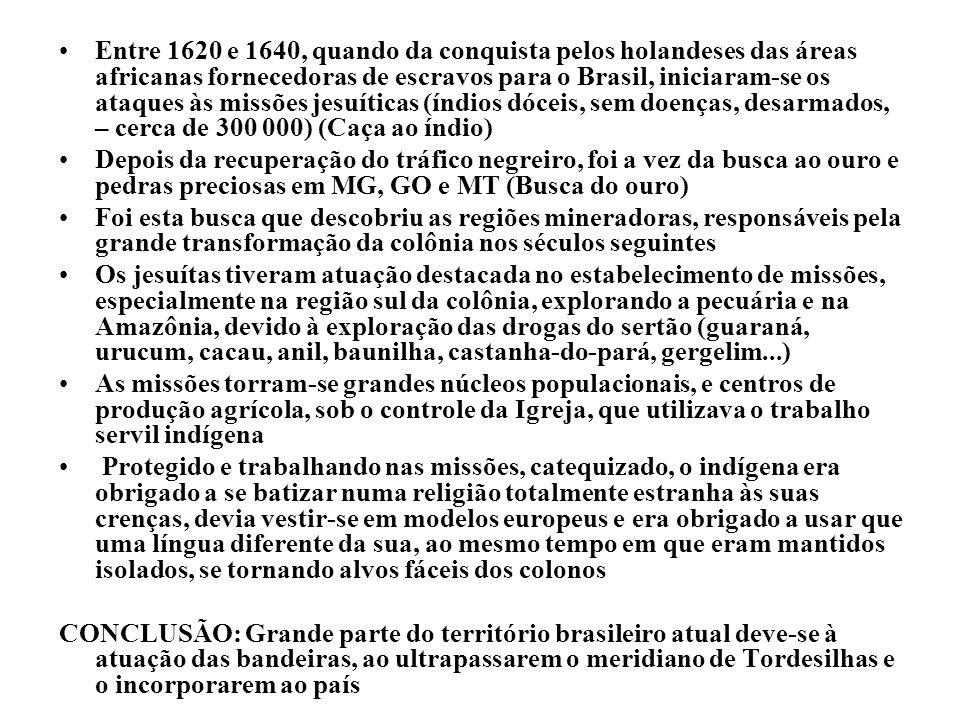 Entre 1620 e 1640, quando da conquista pelos holandeses das áreas africanas fornecedoras de escravos para o Brasil, iniciaram-se os ataques às missões jesuíticas (índios dóceis, sem doenças, desarmados, – cerca de 300 000) (Caça ao índio)