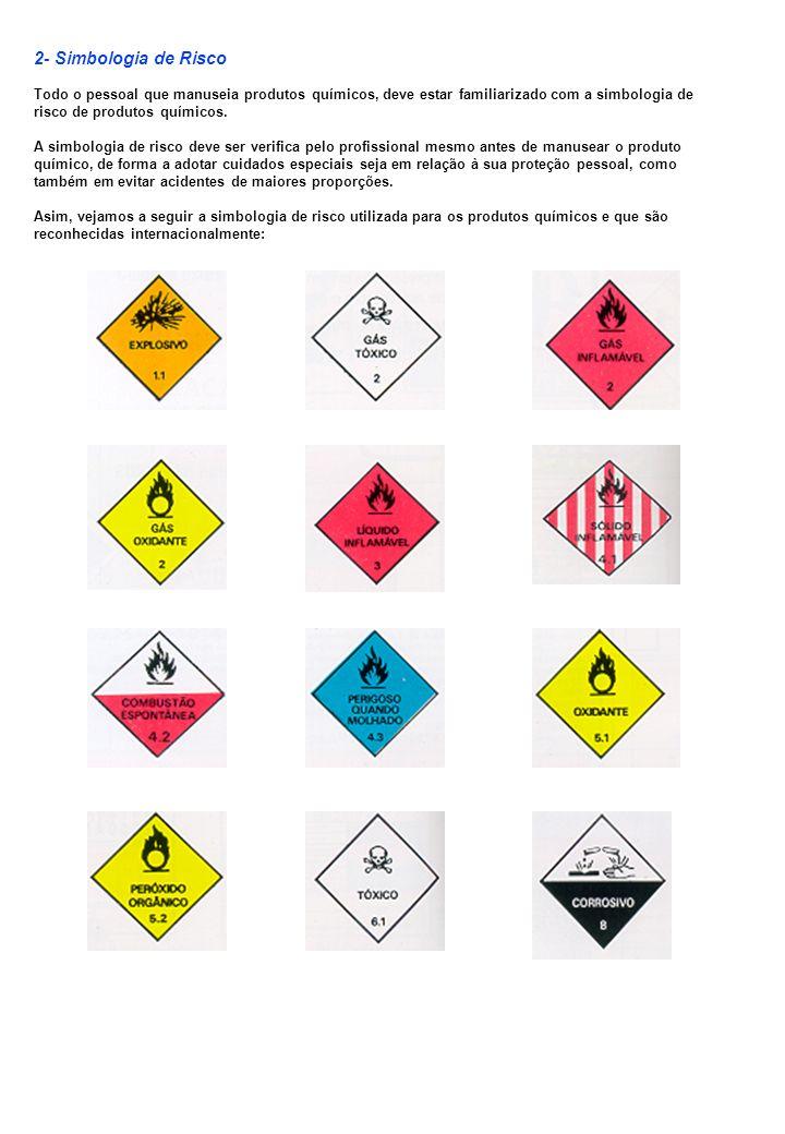 2- Simbologia de RiscoTodo o pessoal que manuseia produtos químicos, deve estar familiarizado com a simbologia de risco de produtos químicos.
