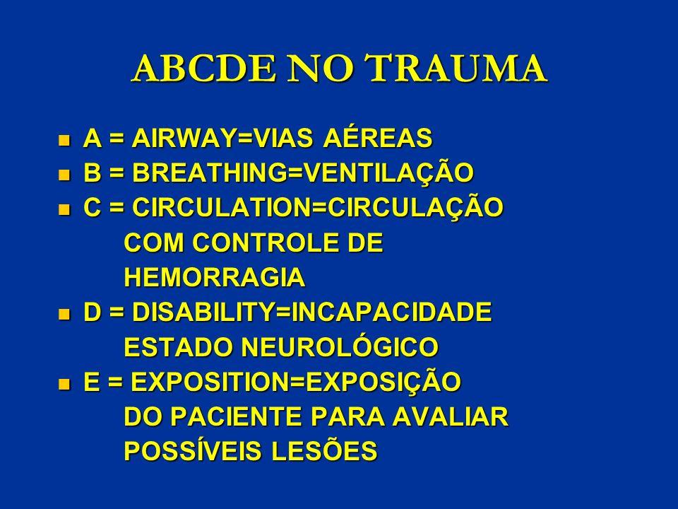 ABCDE NO TRAUMA A = AIRWAY=VIAS AÉREAS B = BREATHING=VENTILAÇÃO