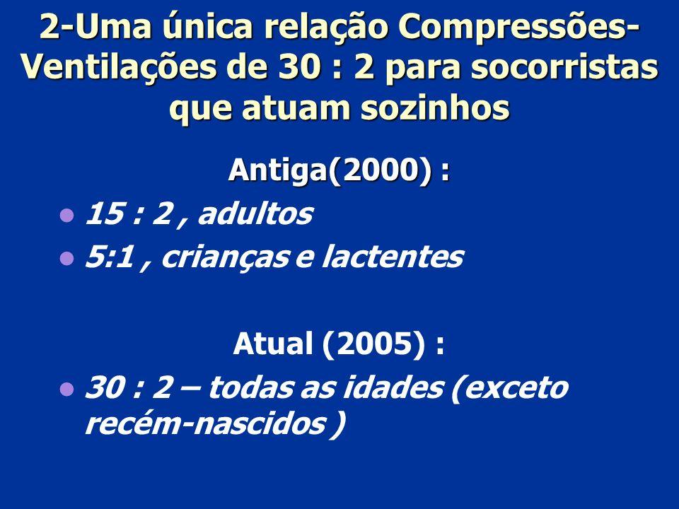 2-Uma única relação Compressões-Ventilações de 30 : 2 para socorristas que atuam sozinhos