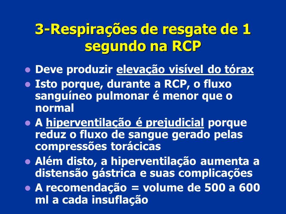 3-Respirações de resgate de 1 segundo na RCP