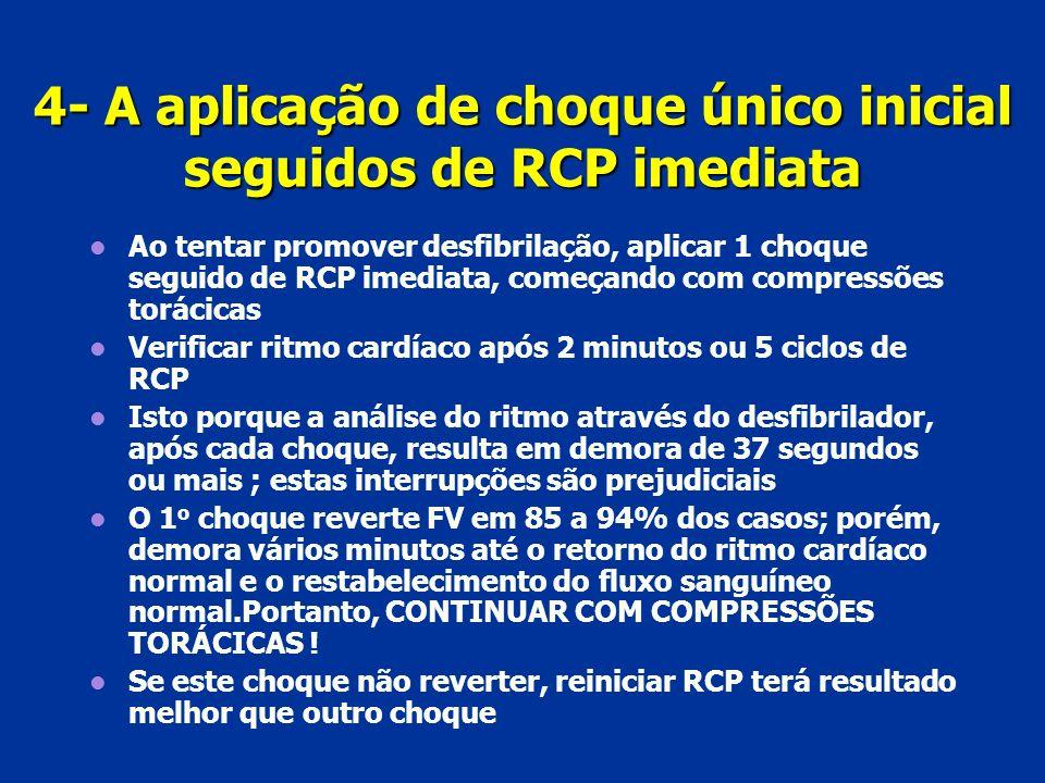 4- A aplicação de choque único inicial seguidos de RCP imediata