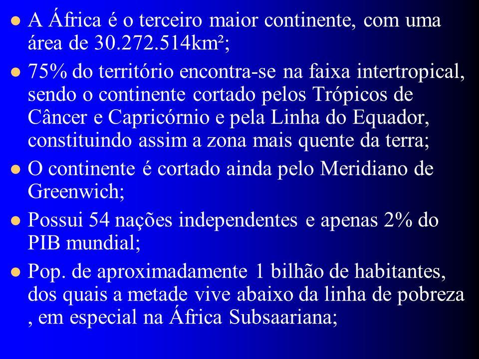 A África é o terceiro maior continente, com uma área de 30.272.514km²;