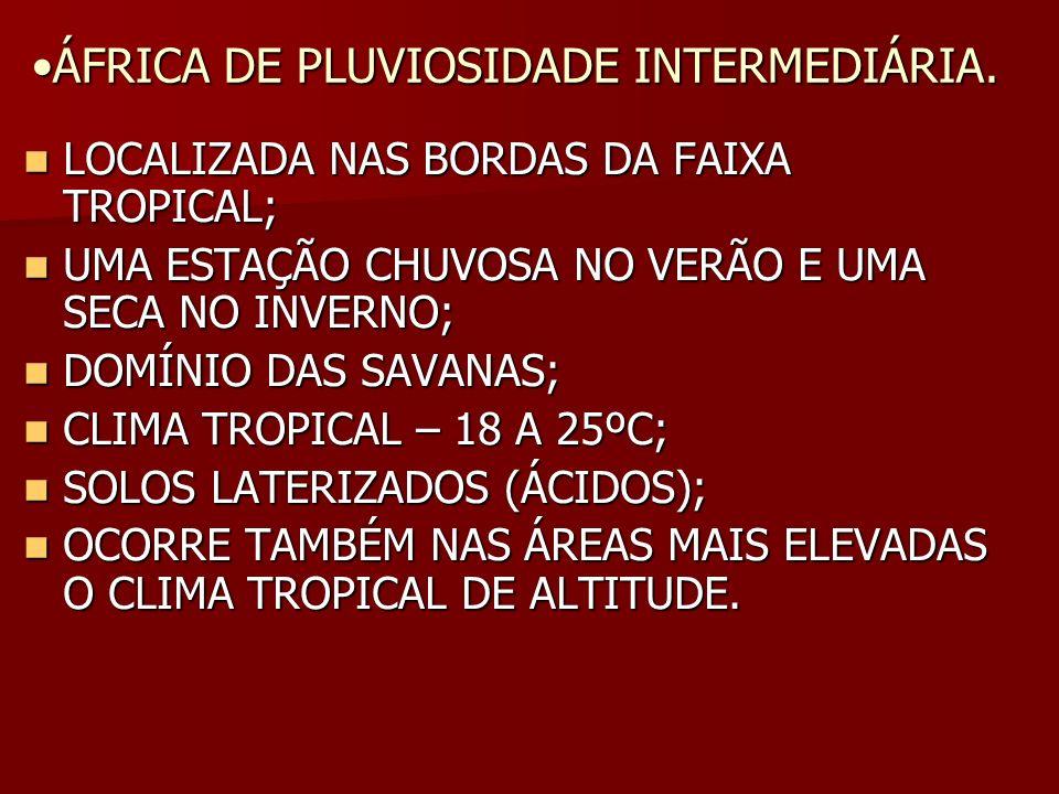 ÁFRICA DE PLUVIOSIDADE INTERMEDIÁRIA.