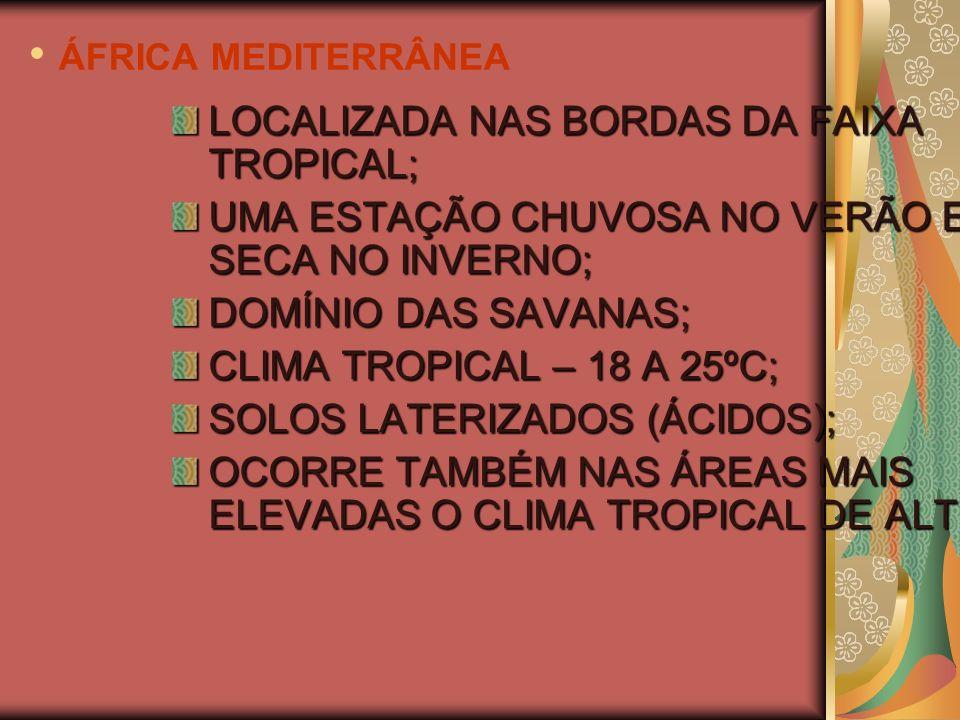 ÁFRICA MEDITERRÂNEA LOCALIZADA NAS BORDAS DA FAIXA TROPICAL;