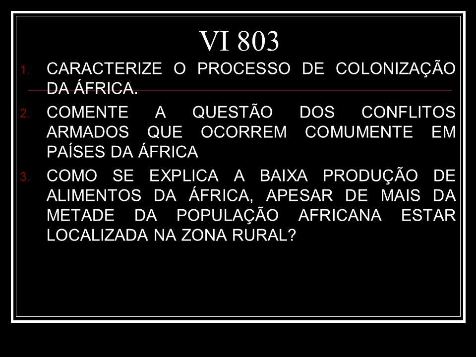 VI 803 CARACTERIZE O PROCESSO DE COLONIZAÇÃO DA ÁFRICA.