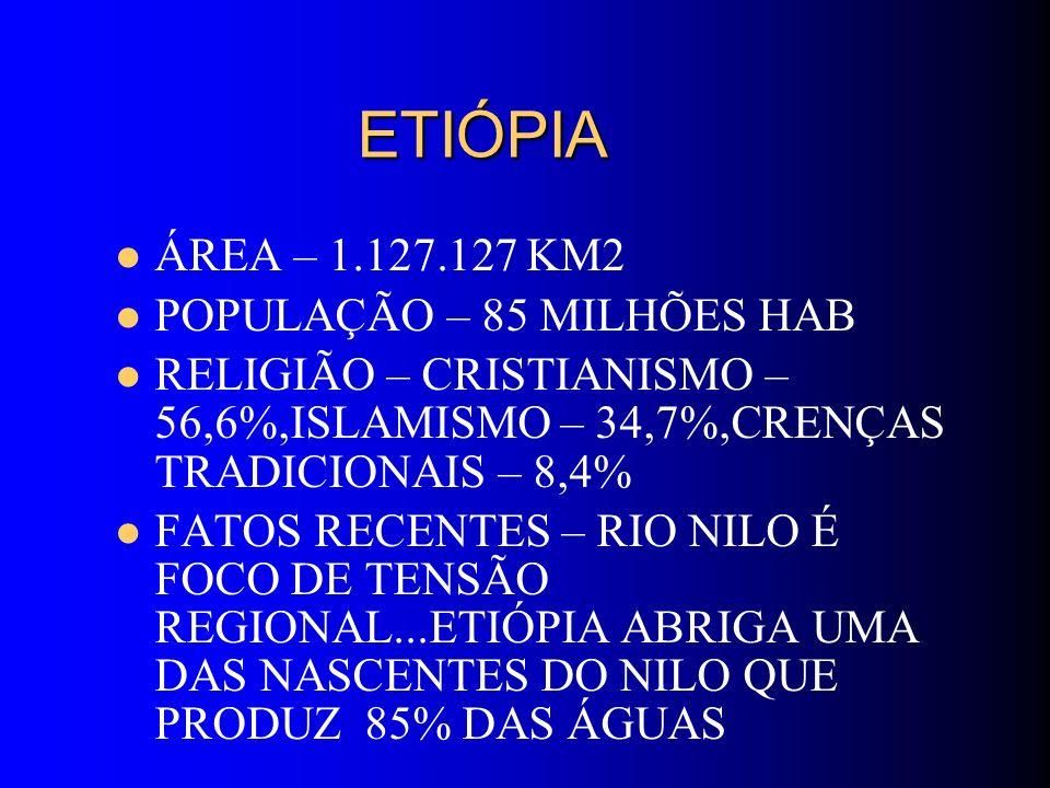 ETIÓPIA ÁREA – 1.127.127 KM2 POPULAÇÃO – 85 MILHÕES HAB