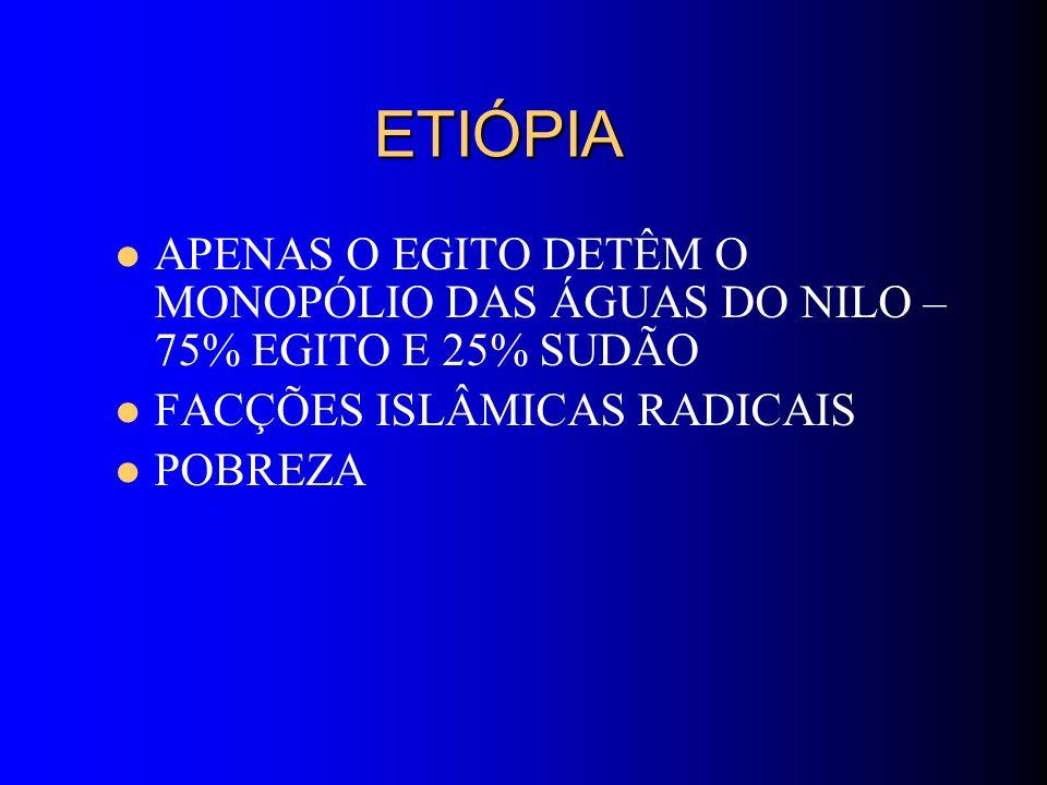 ETIÓPIA APENAS O EGITO DETÊM O MONOPÓLIO DAS ÁGUAS DO NILO – 75% EGITO E 25% SUDÃO. FACÇÕES ISLÂMICAS RADICAIS.