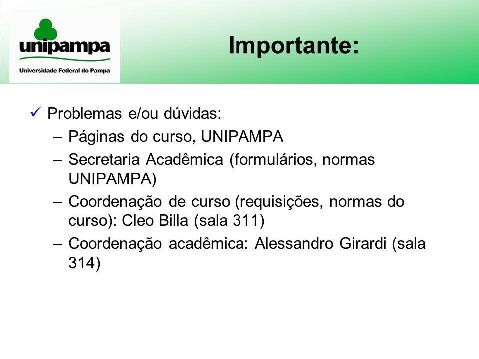 Importante: Problemas e/ou dúvidas: Páginas do curso, UNIPAMPA