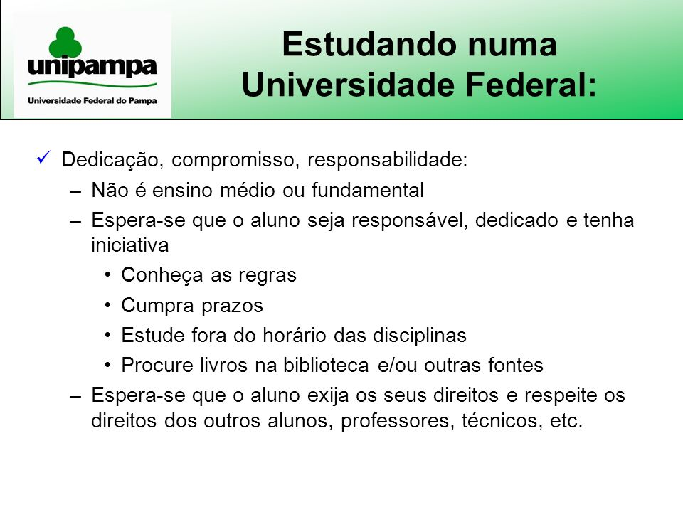 Estudando numa Universidade Federal: