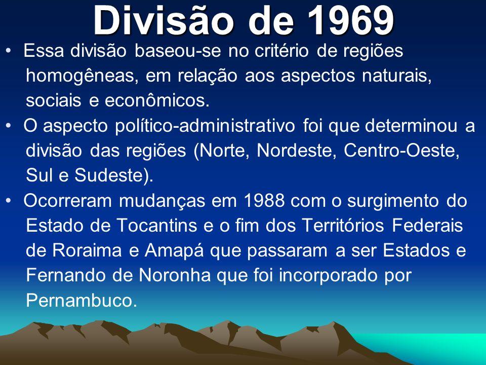 Divisão de 1969 Essa divisão baseou-se no critério de regiões