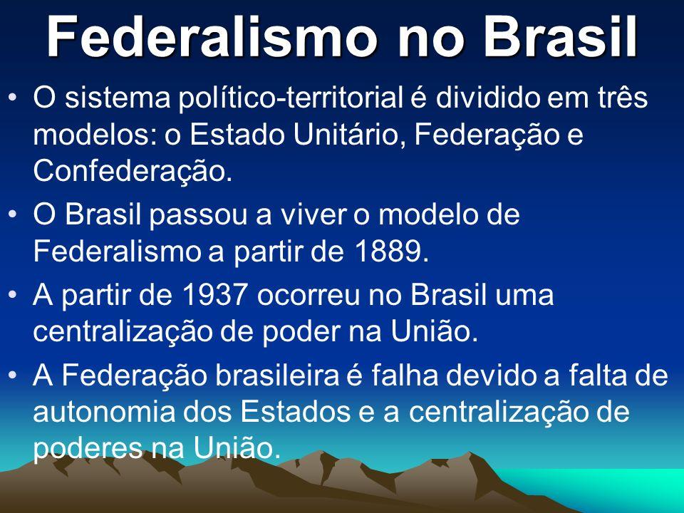 Federalismo no Brasil O sistema político-territorial é dividido em três modelos: o Estado Unitário, Federação e Confederação.