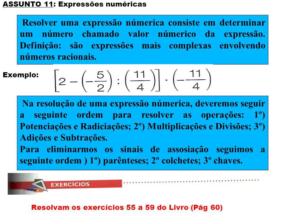 ASSUNTO 11: Expressões numéricas