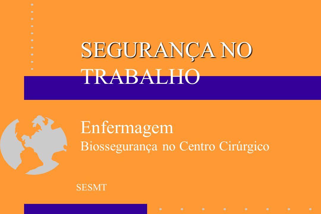 SEGURANÇA NO TRABALHO Enfermagem Biossegurança no Centro Cirúrgico