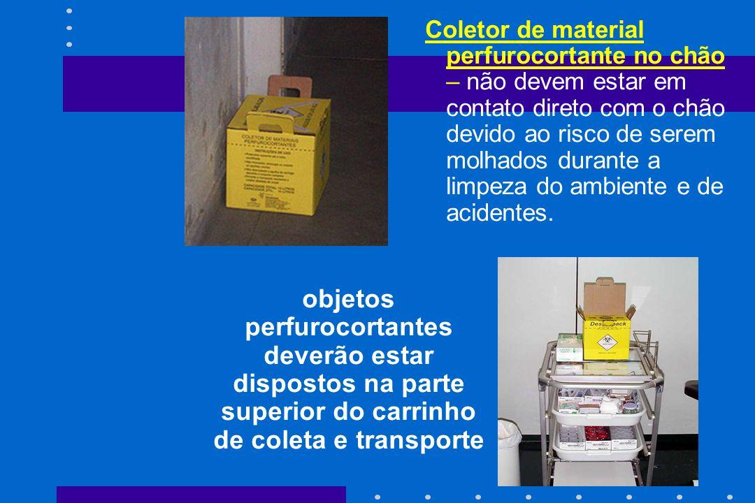 Coletor de material perfurocortante no chão – não devem estar em contato direto com o chão devido ao risco de serem molhados durante a limpeza do ambiente e de acidentes.