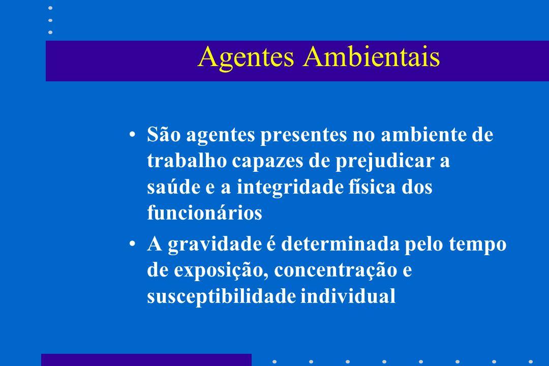 Agentes Ambientais São agentes presentes no ambiente de trabalho capazes de prejudicar a saúde e a integridade física dos funcionários.