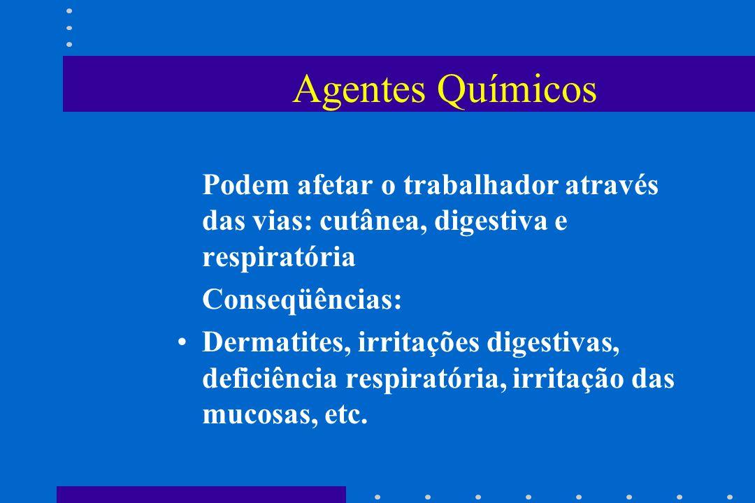 Agentes Químicos Podem afetar o trabalhador através das vias: cutânea, digestiva e respiratória. Conseqüências: