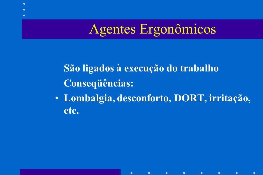Agentes Ergonômicos São ligados à execução do trabalho Conseqüências:
