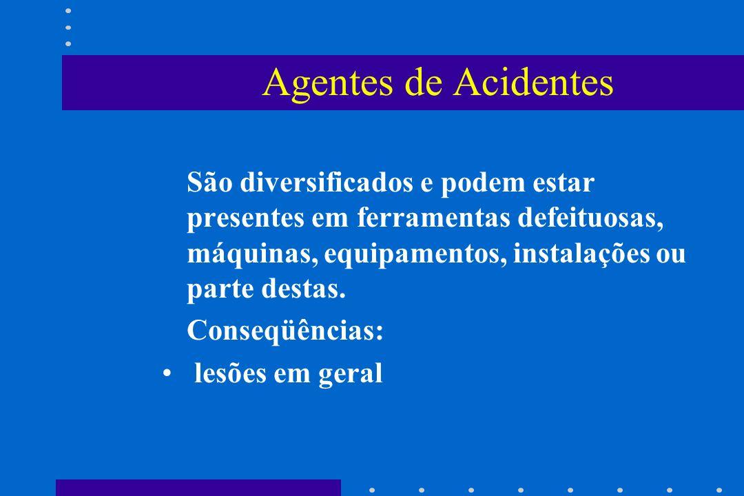 Agentes de Acidentes São diversificados e podem estar presentes em ferramentas defeituosas, máquinas, equipamentos, instalações ou parte destas.