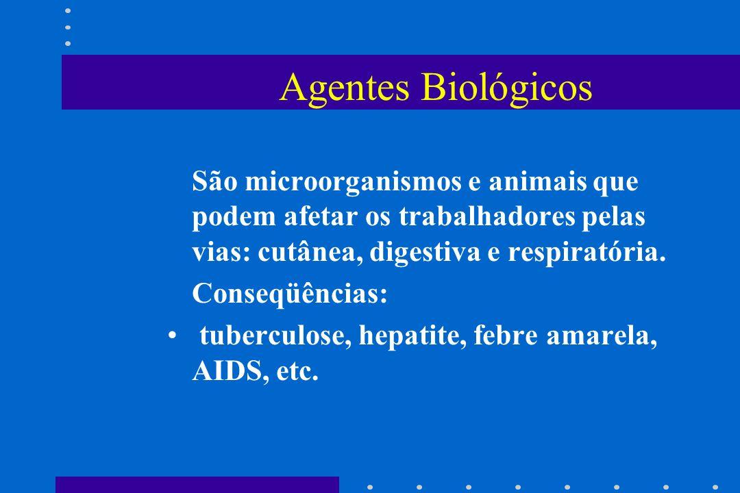 Agentes Biológicos São microorganismos e animais que podem afetar os trabalhadores pelas vias: cutânea, digestiva e respiratória.