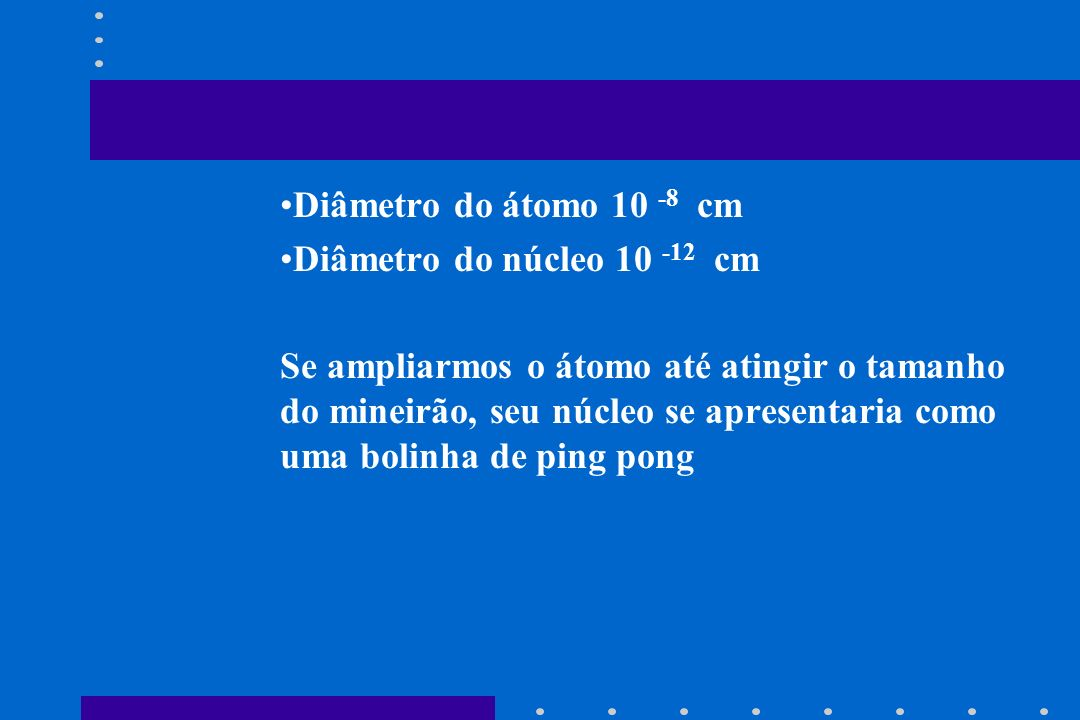 Diâmetro do átomo 10 -8 cm Diâmetro do núcleo 10 -12 cm.
