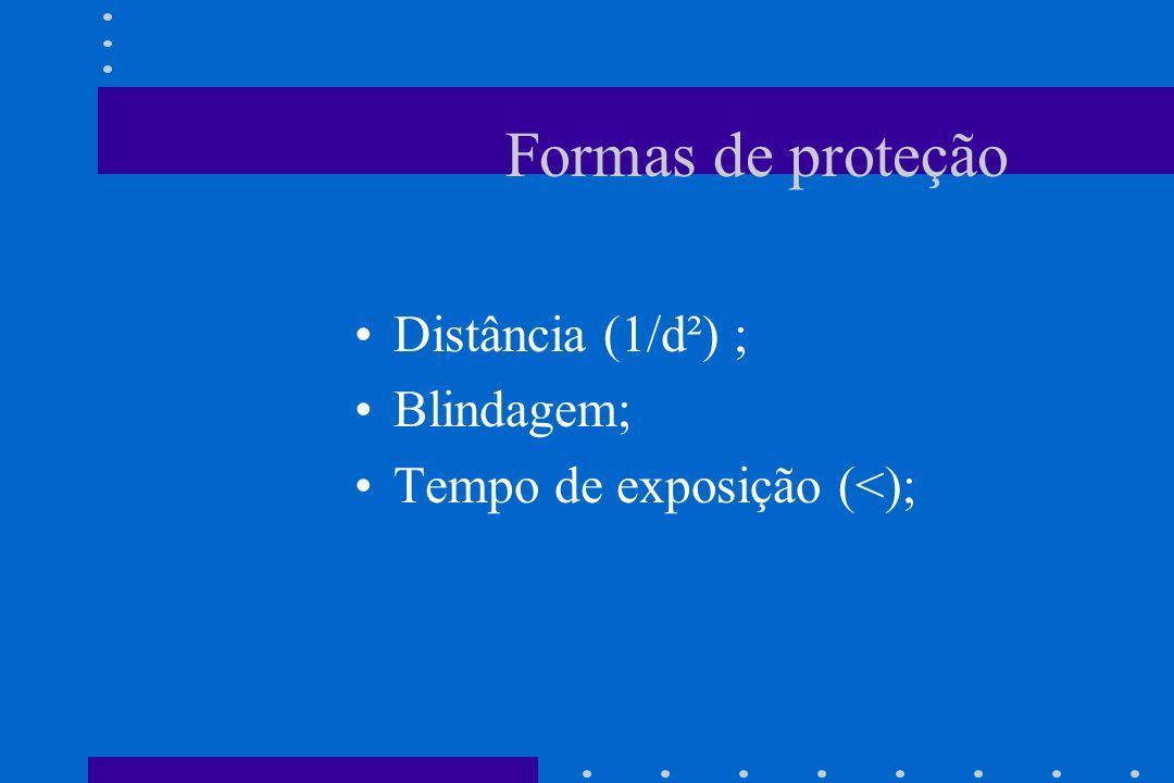 Formas de proteção Distância (1/d²) ; Blindagem;