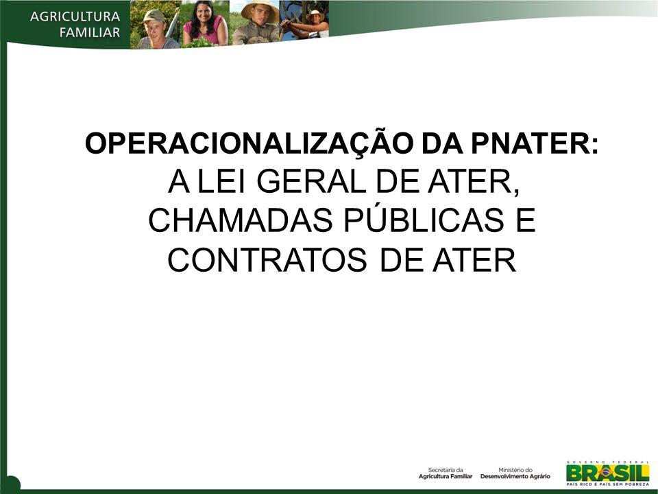 OPERACIONALIZAÇÃO DA PNATER: :A LEI GERAL DE ATER, CHAMADAS PÚBLICAS E CONTRATOS DE ATER