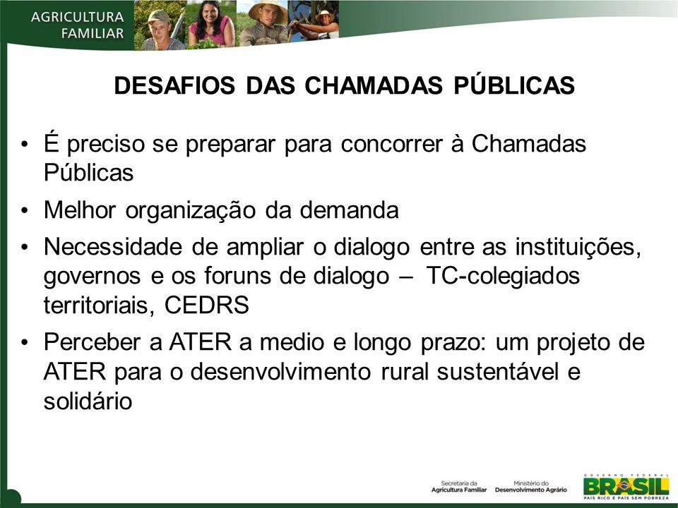 DESAFIOS DAS CHAMADAS PÚBLICAS