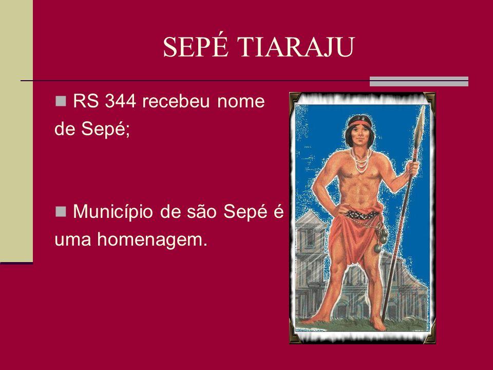 SEPÉ TIARAJU RS 344 recebeu nome de Sepé; Município de são Sepé é