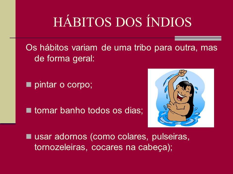 HÁBITOS DOS ÍNDIOS Os hábitos variam de uma tribo para outra, mas de forma geral: pintar o corpo; tomar banho todos os dias;