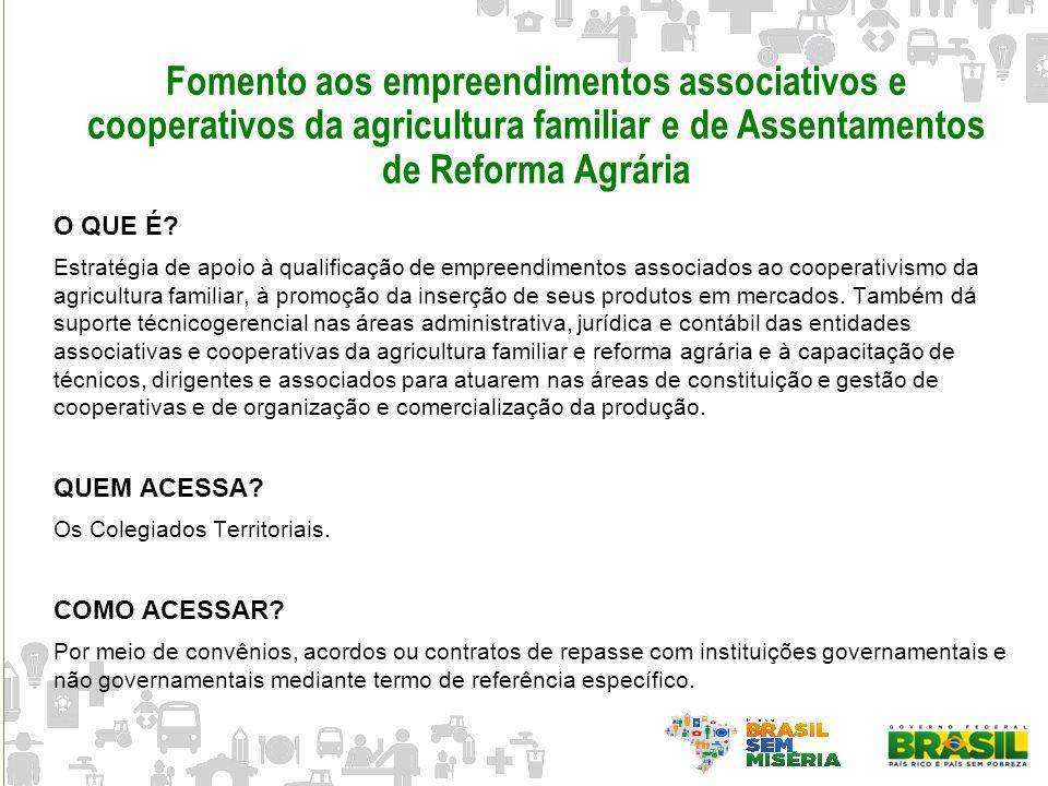 Fomento aos empreendimentos associativos e cooperativos da agricultura familiar e de Assentamentos de Reforma Agrária